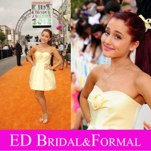 Ariana Grande Hellgelb Kleid Kurz Cocktailparty-heimkehr-kleid Sexy Geburtstag Kleid 2012 Kinder Choice Awards