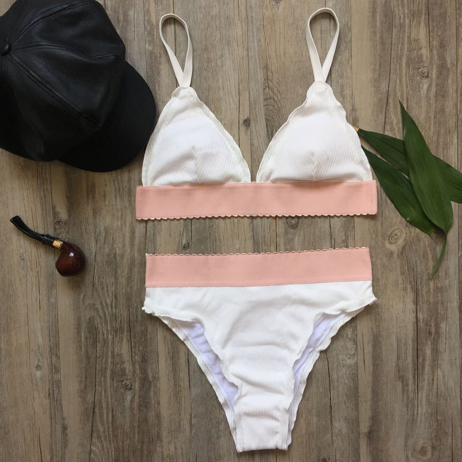 2017 High Waist Solid Color Bikini Set Swimsuit Bathing Suit Beachwear Swimsuit