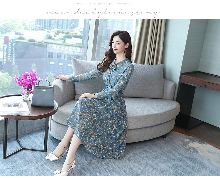 2019 Autumn Winter Vintage Chiffon Floral Midi Dress Plus Size Maxi Boho Dresses Elegant Women Party Long Sleeve Dress Vestidos 73