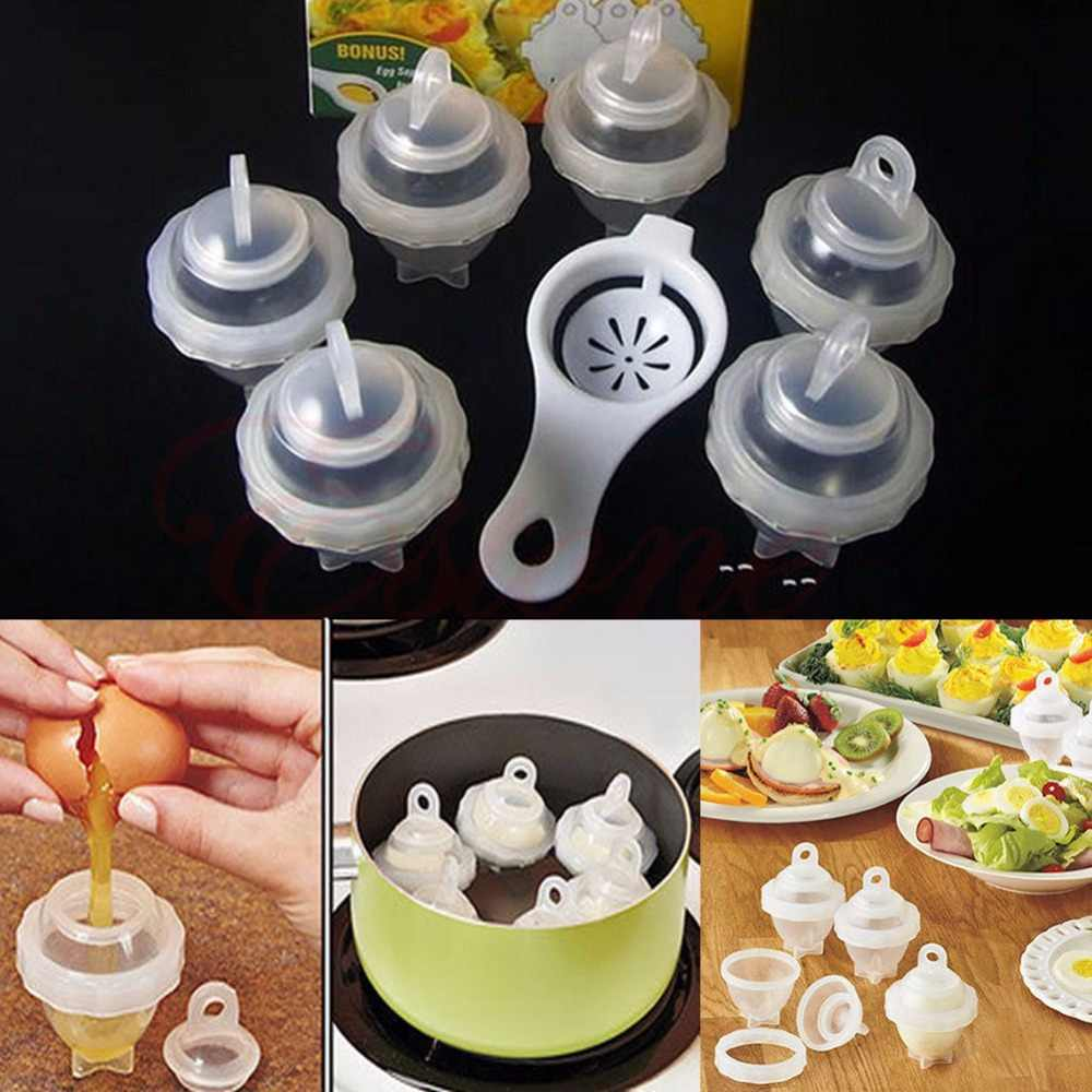 7pcs/set Egg Tool with Separator Hard Boil Egg Cooker Clear Silicone Maker Without Shell Maker Egg Steamer