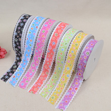 New Fashion Seven Colors Sun Flower Nail Thin Ribbon DIY Material Bow Headdress Clothing Webbing Factory Direct Width For 2.5cm