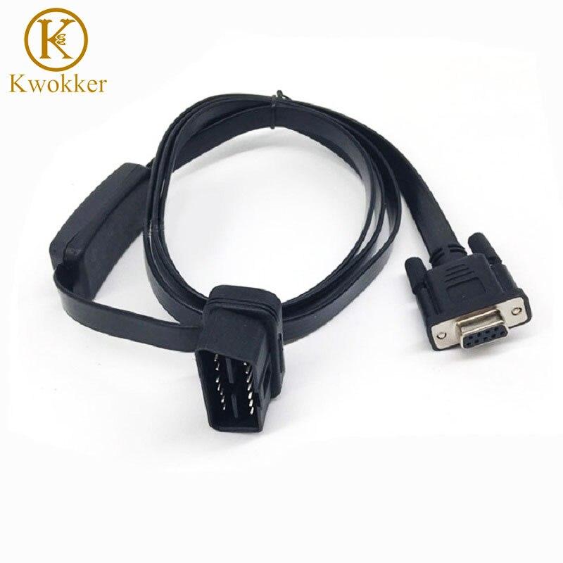 Auto OBD2 16 Pin zu DB9 RS232 Stecker Kabel Flach Draht mit schalter Verlängerung Rechtwinklig Diagnose Werkzeug