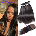 Ali Moda Hair Bundles And Closure Peruvian Straight Virgin Hair 4 Bundles Silk Base Closure Peruvian Virgin Hair With Closure