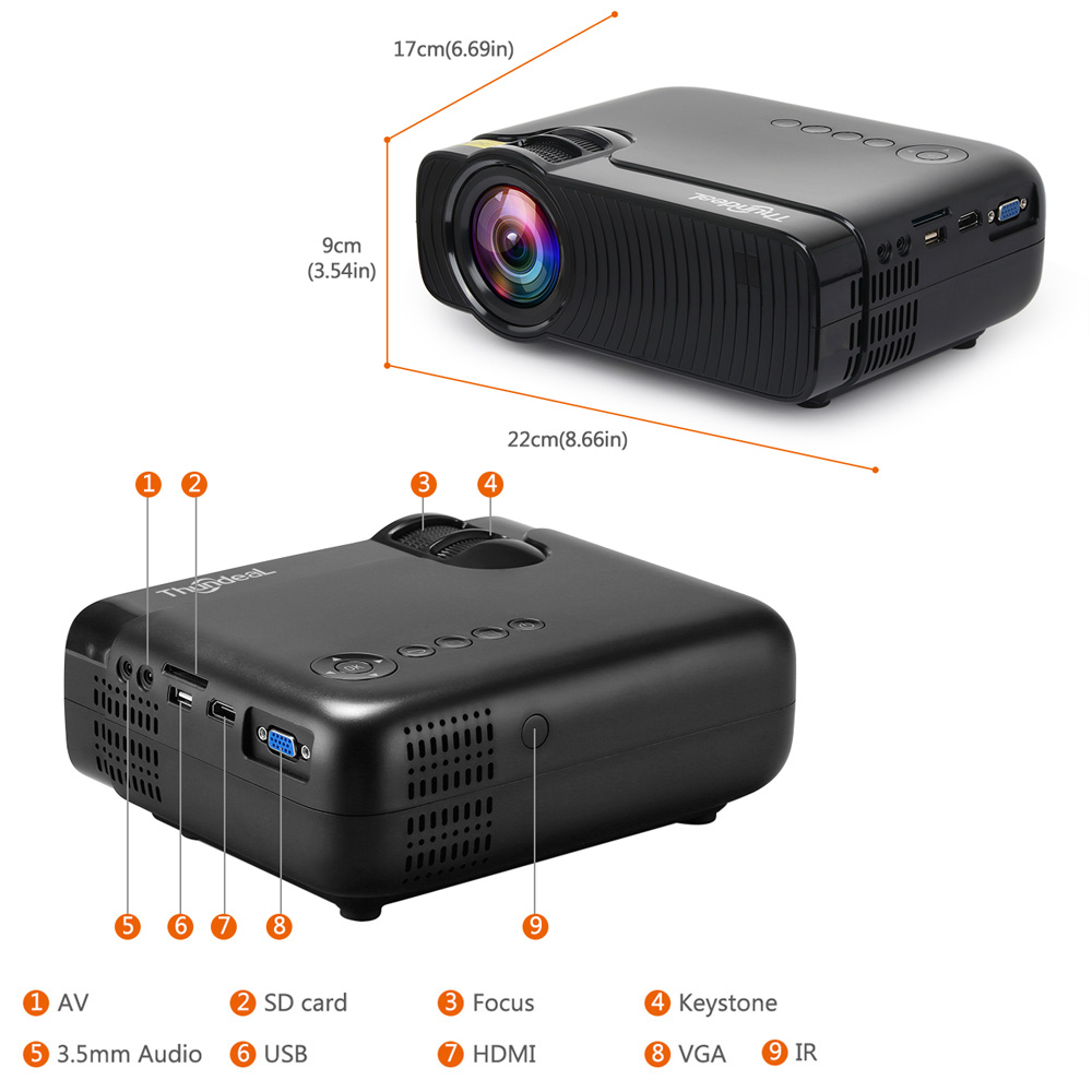 Image 3 - ThundeaL TD30 Max Projector 1280*720 Optional Android 6.0 WiFi Bluetooth HD Mini LED Projector 2400Lumens Video 3D HD Proyector