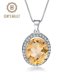 Image 1 - GEMS バレエ 925 スターリングシルバー誕生石ファインジュエリー 1.79Ct 天然シトリン宝石用原石のペンダントネックレス女性の結婚式