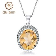 GEMS BALLET 925 Sterling Silver Birthstone Fine Jewelry 1.79Ct Natural Citrine Gemstone Pendant Necklace for Women Wedding