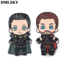 DMLSKY Cartoon Thor Loki Pins God of EvilEnamel and Brooches Women Men Lapel Pin Backpack Badge Tie Hat M3713
