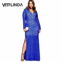 3XL 6XL For Fat MM Plus Size Vestidos V Neck Lace Spliced Women Long Dress Solid