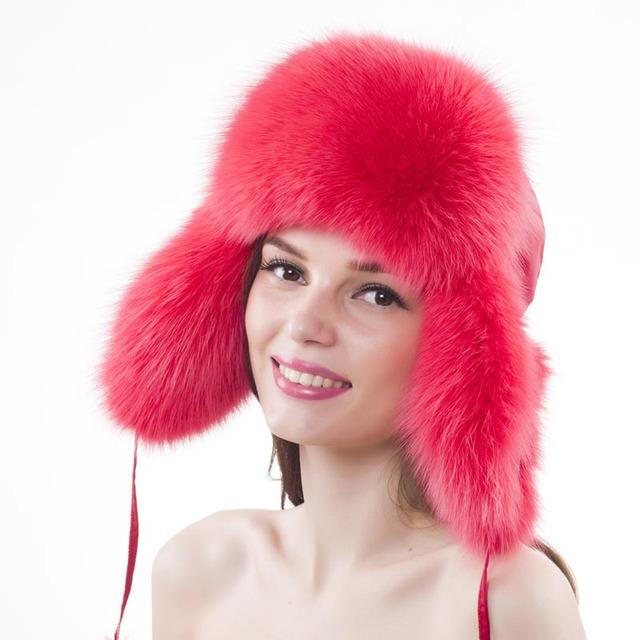 Winter Fur Hat For Women Real Fox Fur Women's Russian Ushanka Trapper Snow Hat Raccoon Fur Bomber Hat Earflap Winter Warm Caps