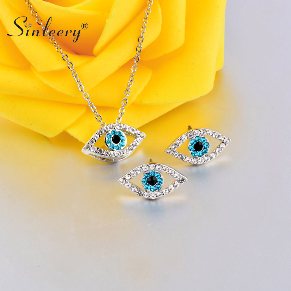 US $3.06 32% OFF|SINLEERY Charm Luck Turkey Blue Evil Eye Blue Rhinestone Eye Necklace Earring Jewelry Set Silver Color For Women TZ447 SSB-in Jewelry Sets from Jewelry & Accessories on AliExpress - 11.11_Double 11_Singles' Day