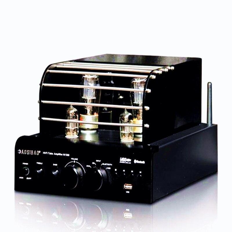 AOSIBAO AV388 Built In Bluetooth 4 0 Using Shuguang 5Z4P 6N1 Tube Amplifiers USB Input MP3