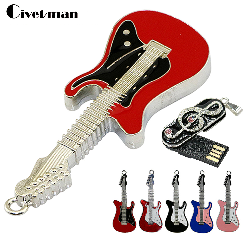 USB Flash Drive Metal Necklace Electric Guitar Memory Stick 8GB 16GB 32GB 64GB USB Flash Disk Lovely Music Notation Pen Drive