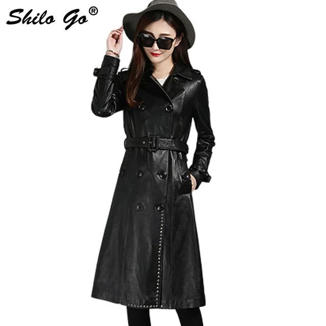 Шило GO кожаные тренчи женские осенние модные овчины Натуральная кожа X-long пальто лацкан двубортный передний заклепки Женское пальто
