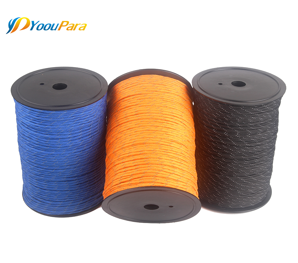 Image 2 - 10 Colors 1000FT Spools Reflective Paracord Rope 7 Strands For Camping Outdoor Survival Equipment DHL Free 12pcs/lot WholesaleParacord   -