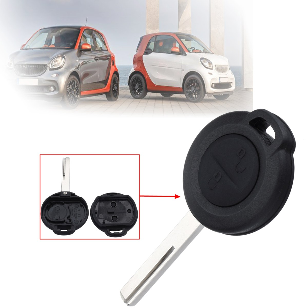 2 Buttons Open Lock Car Remote Key Fob Case Shell For Benz/Mercedes Smart Forfour