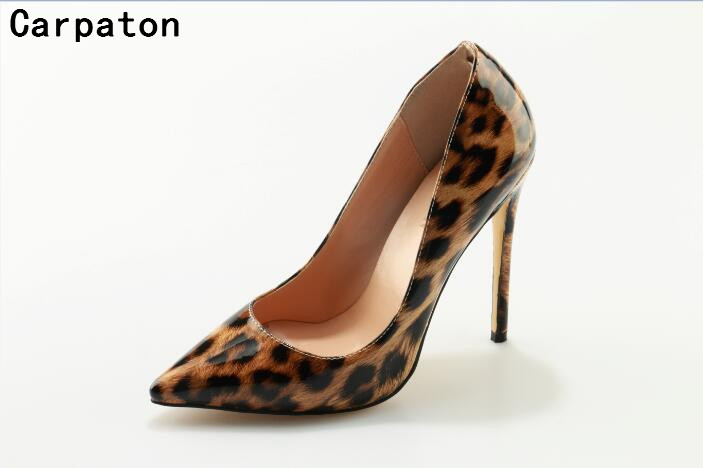все цены на  Carpaton so sexy pumps women party elegant stilettos Spring Autumn fashion leopard high heel pointed toe slip on shoes size 42  в интернете