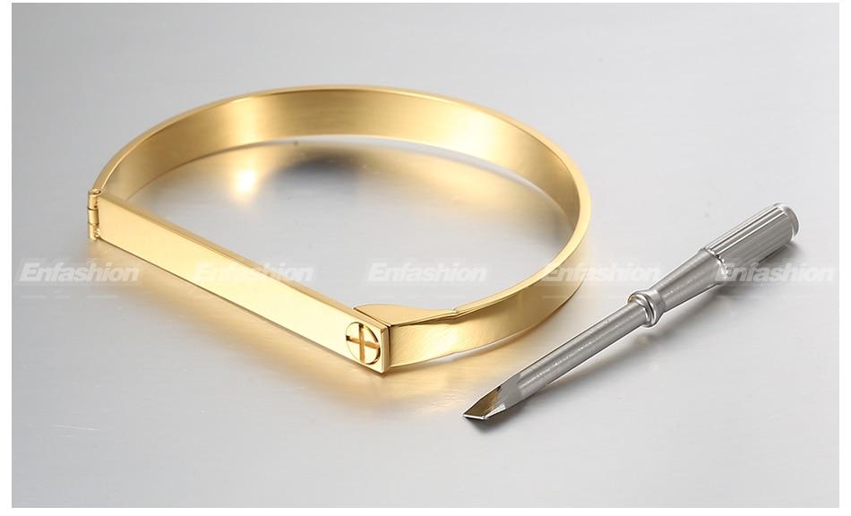 Enfashion Personalized Engraved Name Bracelet Gold Color Bar Screw Bangle Lovers Bracelets For Women Men Cuff Bracelets Bangles 20
