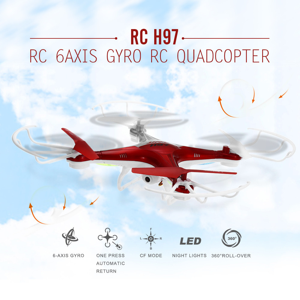 H97 Drones RC con Cámara 4CH 2.4G 6 Axis Gyro RC Quadcopter Helicóptero Volando