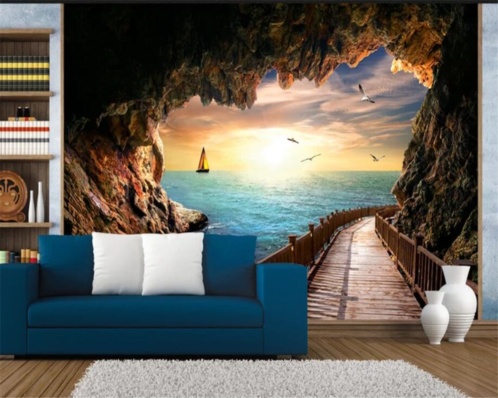 Us 8 85 41 Off Beibehang Custom Home Background Wall 3d Wallpaper Cave Seascape Beautiful Sunset Landscape Mural Papel Tapiz Para Paredes 3 D In