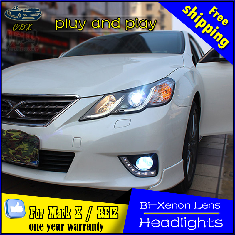 Car Styling Head Lamp for Toyota Reiz Headlights 2010-12 Mark X LED Headlight DRL Daytime Running Light Bi-Xenon HID Accessories car styling headlights for toyota rav4 led headlight 2013 2015 for rav4 head lamp led daytime running light q5 lens bi xenon hid