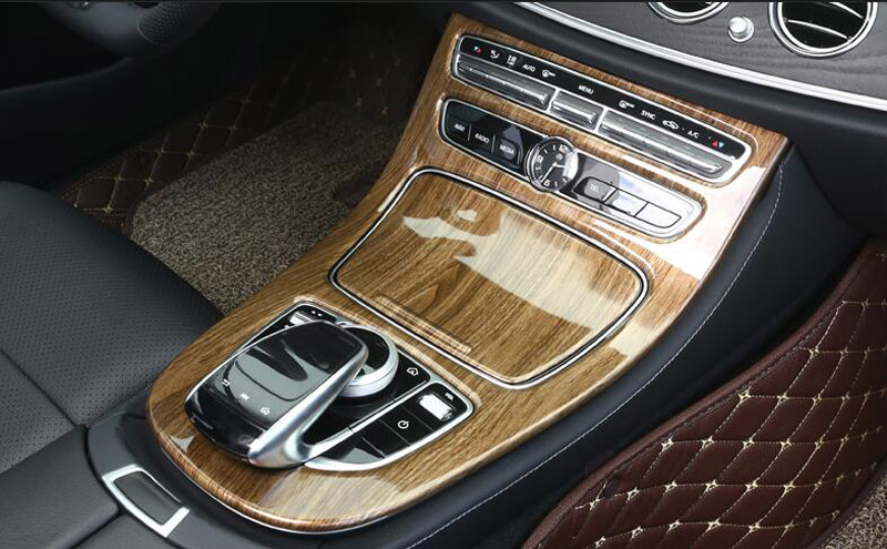 Abs plastic walnut brown wood center console gear panel for Mercedes benz center console lid