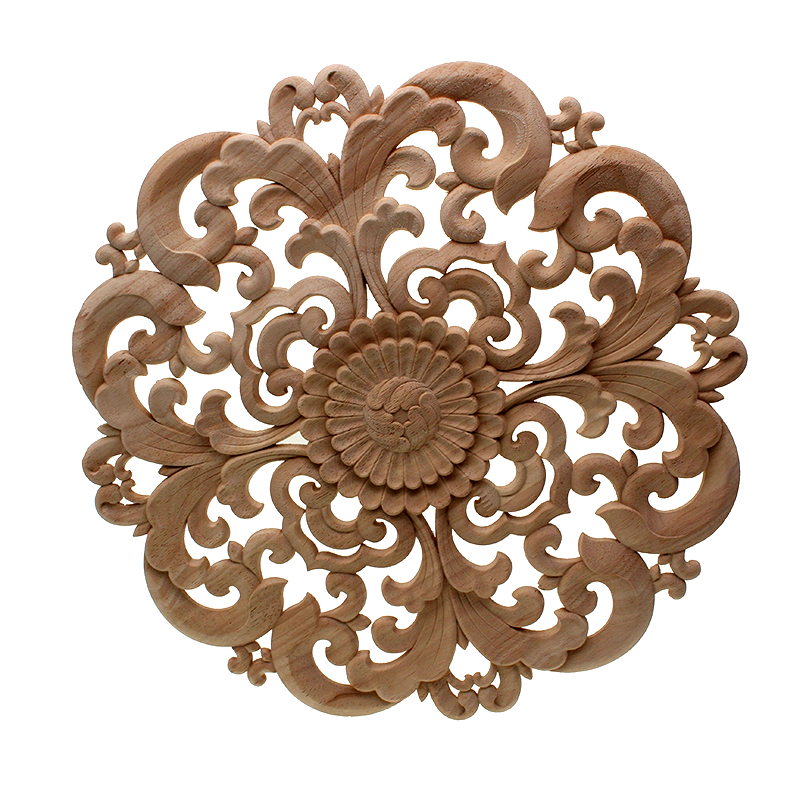 DIY Round European Woodcarving Decal Home Decorative Wood Appliques Carved Applique Window Door Decor Wooden Figurines Crafts