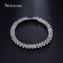 NEWBARK Luxury Wedding Bracelet Jewelry Rome Style Cubic Zirconia Prongs Bracelets & Bangles White Gold Plated Lady Bijoux