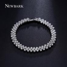 NEWBARK Luxury Bracelet Femme Jewelry Rome Style Cubic Zirconia Prongs Bracelets Bangles Silver Color Lady Bijoux