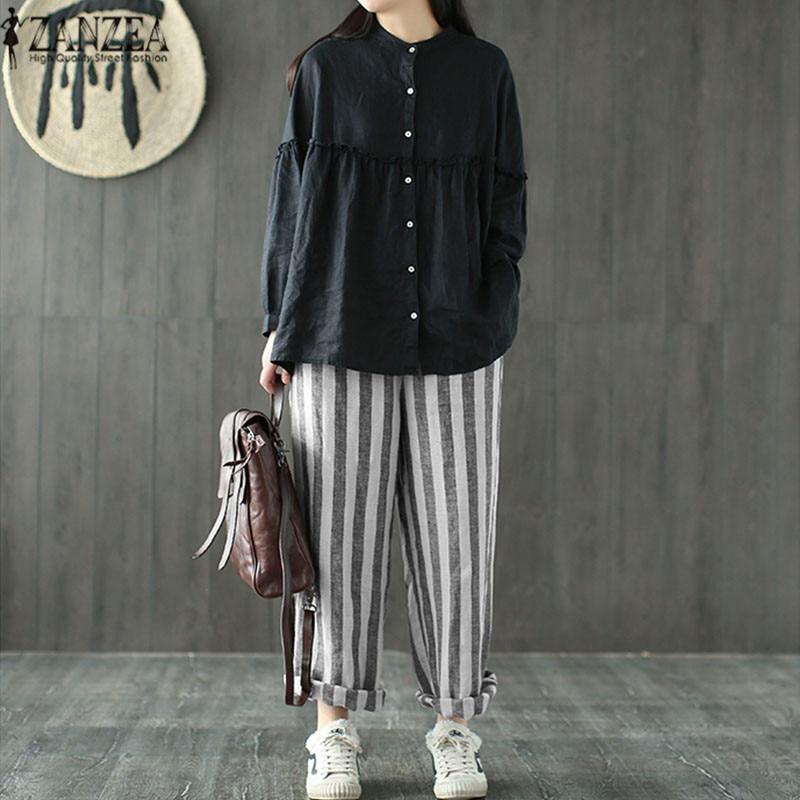 Plus Size ZANZEA Women Striped Harem   Pants   2019 Summer Casual Loose   Wide     Leg     Pants   Pantalon Large Femme Long Trousers Streetwear