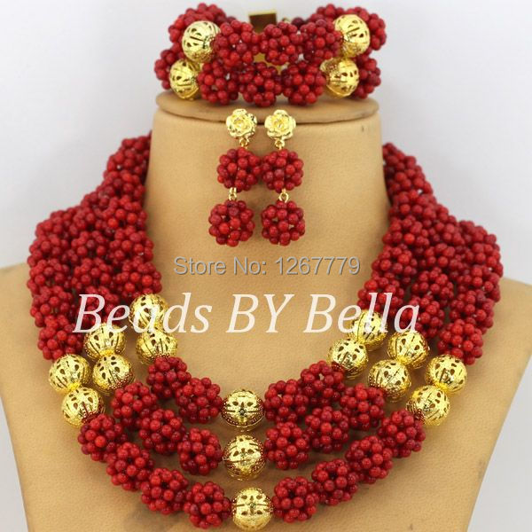 цена Gorgeous Gold Plating African Coral Necklace Beads Set Summer Fashion Jewelry Set Free Shipping ABS342-1