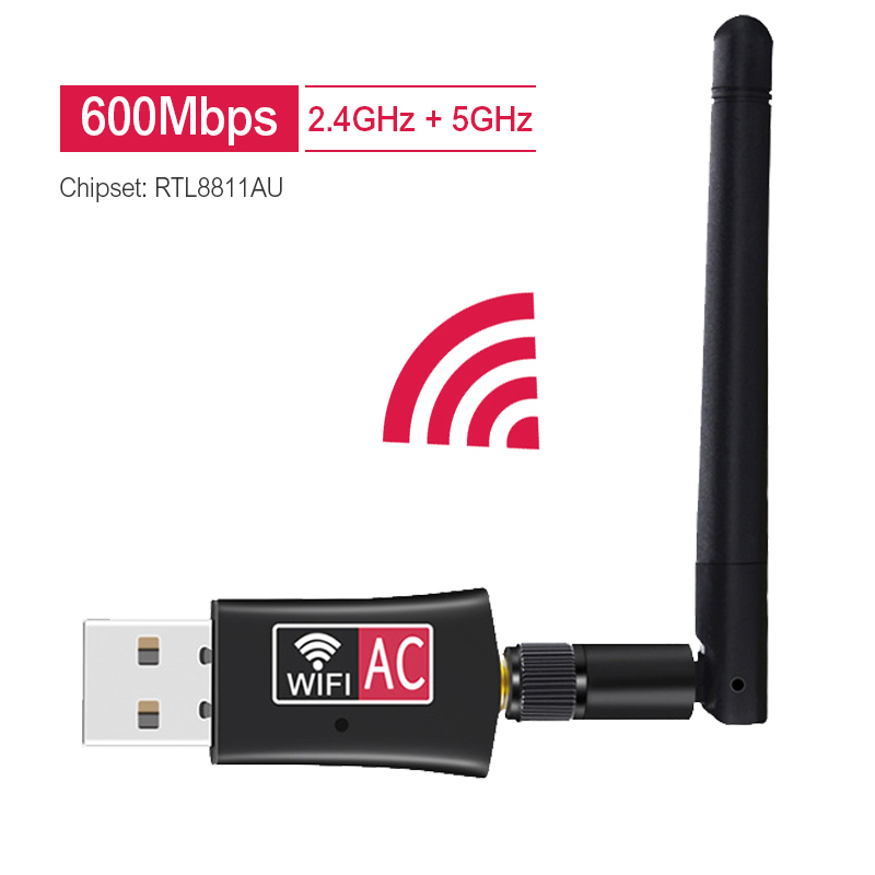 Wireless USB Wifi Adapter AC600 Dual Band 600Mbps 2.4GHz 5GHz WiFi With Antenna PC Computer Network Card Receiver 802.11b/n/g/ac