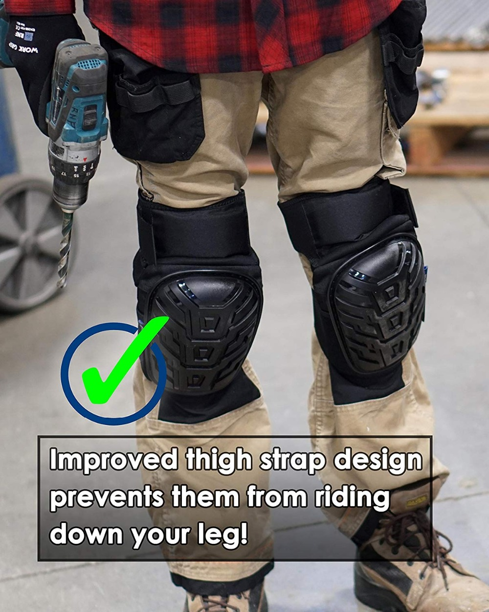 Professional Most Comfortable Gardening Knee Pads with Adjustable Strap for Work Flooring Construction and Gardening