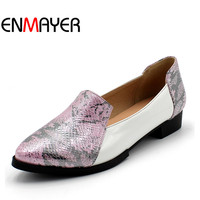ENMAYER Closed Round Toe Ballet Flat Shoes Women Slip On Tie Solid Unit Minimalist Style Women