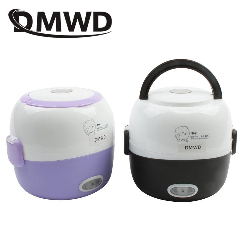 DMWD Мини рисоварка тепловое Отопление Электрический Ланч-бокс 2 слоя портативный отпариватель еды контейнер для приготовления еды Ланчбокс ...