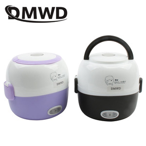 Image 1 - DMWD MINI Rice Cooker Thermal Heating Electric Lunch Box 2 Layers Portable Food Steamer Cooking Container Meal Lunchbox Warmer