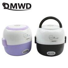 DMWD MINI olla de arroz con calefacción térmica vaporera portátil de alimentos 2 capas