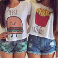 GT69 New S-XL Womens BEST FRIEND Print Casual O-Neck Cotton Female Short Sleeve Cropped T-shirt Summer Crop Top Plus Size