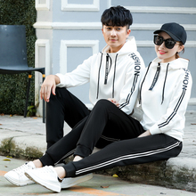 2019 Spring Matching Couple Casual Tracksuits Women Men Letter Print Hooded Hoodies and Pants Suits 2 pieces set Lover Gifts