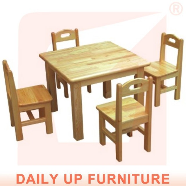 4 asientos preescolar escritorio 60 * 60 cm de madera maciza Kids ...