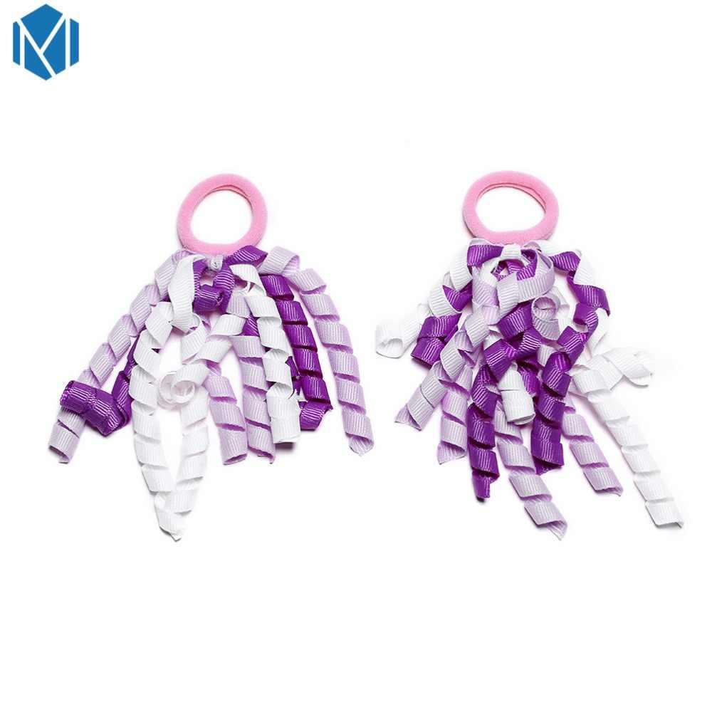 M MISM 2 шт дети Curle ленты резинки аксессуары для волос красочные детские резинки для волос девочки, Женская прическа, крепление парики лента для волос