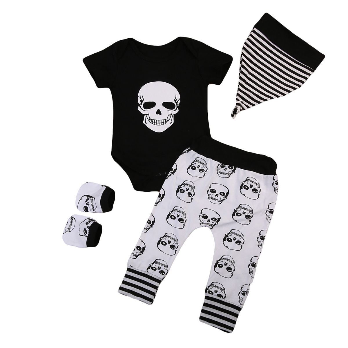 4PCS Set Newborn Toddler Infant Baby Boy Skull Clothes Short Sleeve Romper Bodysuit Tops+Legging Pants Hat Outfits Clothing Set