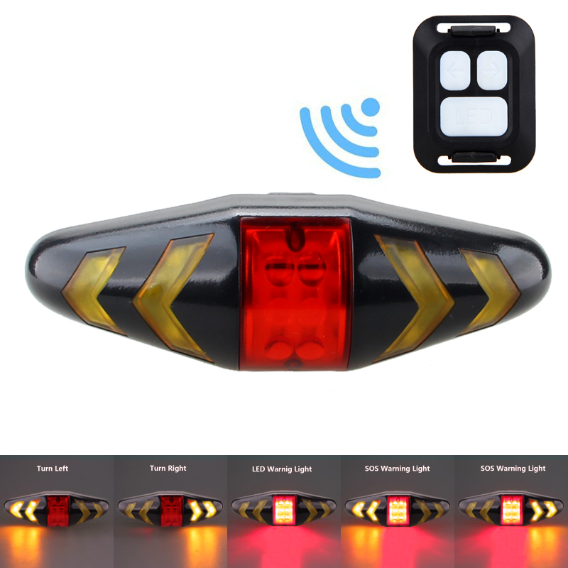 Smart Bicycle Rear Light Wireless Remote Control Bike Turning Light Safety Taillight Cycling Seat Warning Lights Tail Lamp