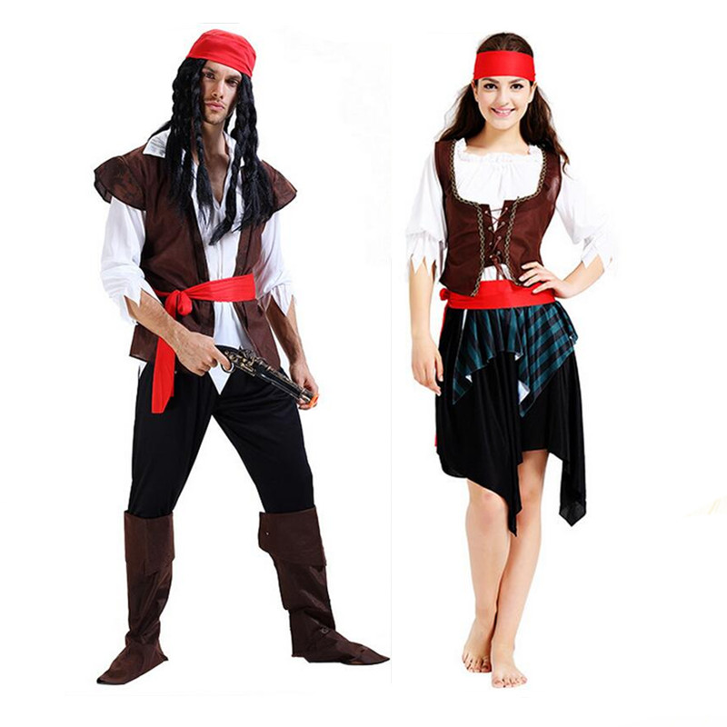 Halloween Exotic Adult Couples Costumes Sexy Women Men Pirates of the Caribbean Cosplay Stage Performance Masquerade Party