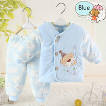 New Born Baby Infant Clothes Cartoon Super Thickening Warm Coat+Pants (Two Piece /sets) Cotton-padded clothes