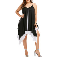 Feitong 2018 Women High Quality Elegant Plus Size Bilayer Sleeveless Irregular Swing Loose Mini Sling Dress Lady Brief Dresses