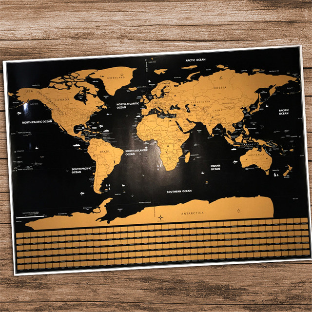 Travel Map Personalized Deluxe Scratch Flag World Map Poster