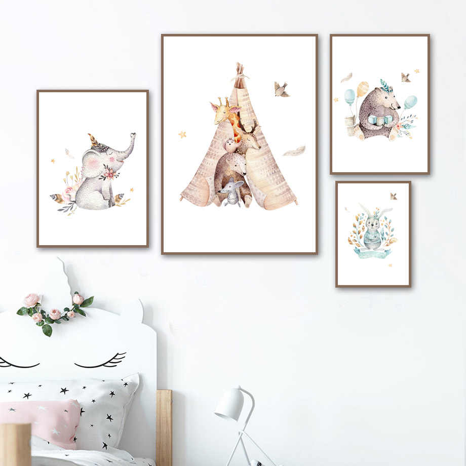 Elephant Rabbit Bear Wall Art Canvas Painting Nordic Posters And Prints Cartoon Animals Wall Pictures Baby Kids Room Home Decor