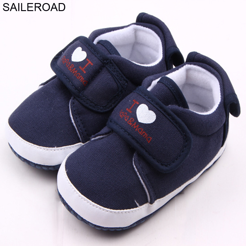 SAILEROAD 0-18Month I LOVE PAPA And MAMA Cotton Cloth Baby First Walker Boy Girls Shoes Baby Toddler Moccasins Soft Bottom Shoes new genuine leather handmade leopard toddler baby moccasins girls kids ballet shoes first walker toddler soft dress shoes