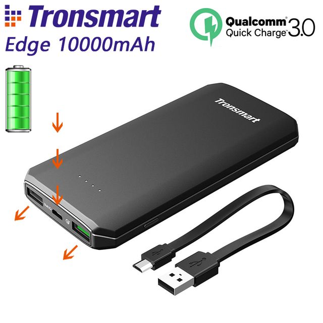 Tronsmart Edge 10000mAh Power Bank Quick Charge 3.0 Output Powerbank External Portable Phone Battery Charger Black CE FCC RoHS