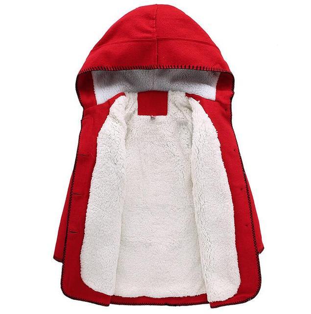 2016 nuevas Muchachas de los niños abrigo de invierno chaqueta de lana de cachemira más la versión con capucha de la muchacha en la larga sección gruesa escudo